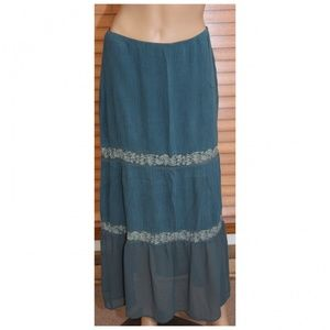 Free People Teal Tiered Skirt